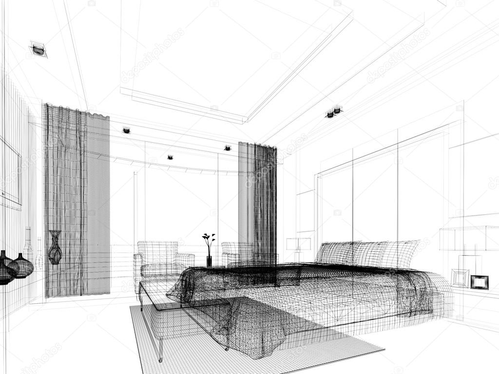 depositphotos 50487195 stock photo sketch design of bedroom 3d